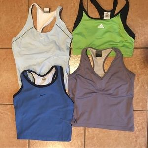 Lot of 4 Nike / Adidas Running Tops Size M
